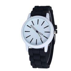 Casual Watch Unisex Quartz Watch Men Women Wristwatches Sports Watches Silicone Rubber Jelly Gel Watches Black (INTL)