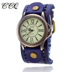CCQ Brand Vintage Cow Leather Bracelet Women WristWatch Casual Luxury Quartz Watch 1391 (Blue)