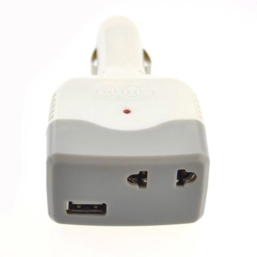 CCTV Charger Mobil Dual Port - USB With AC Home Charger - Putih