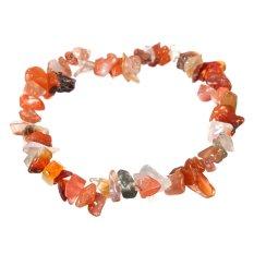 Charm Gemstone Bead Crystal Millefiori Glass Quartz Chip Stretch Bangle Bracelet Carnelian - INTL