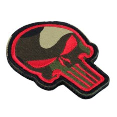 CHEER Skull Double Side Embroidery Tactical Patch Armbands Shoulder Badge Straps Red - Intl