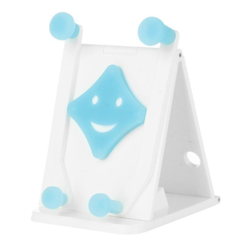 Cheshan N07 Cute Smile Face Multifunctional Car Vehicle Foldable Phone Holder - White Blue