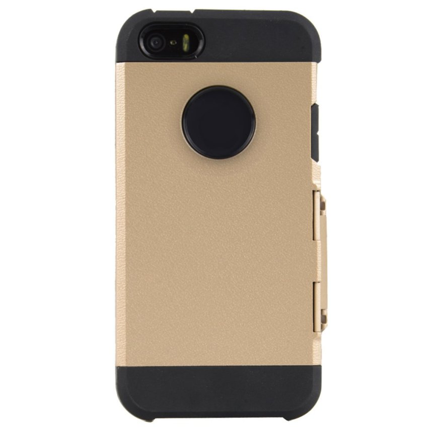 Circle Flip Hard Silicone Case Cover for iPhone SE / 5S / 5(Gold)