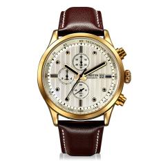 CITOLE OCHSTIN Genuine Swiss Watch Male Sports Brand Luxury Watches Men's Waterproof Leather Quartz Watch 6-pin (Brown) (Intl)