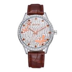 CITOLE SKONE Big Face Full Crystal RhinestoneFashion Watches Womens Leather Quartz Mvmt Analog Ladies Casual Dress Wrist Watch Clock (Brown)