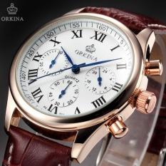 Classic ORKINA 6 Hands Mens Luxury Brand Watches Golden Case Brown Leather Chronograph Clock Men Wristwatch Horloge Quartz Watch - Intl - Intl