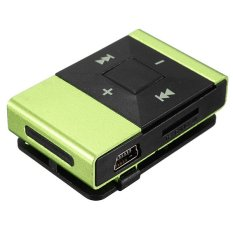 Clip Metal USB MP3 Music Media Player Support 2-16GB Micro SD TF + Headphone Green (Intl)