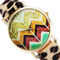 Colored Wave Pattern Fashion Ladies PU Watches Leopard