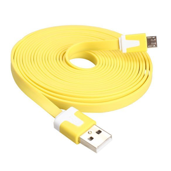 Colorful 3M Flat Micro USB Data Sync Cable for Cell Phone MP3/4 Yellow