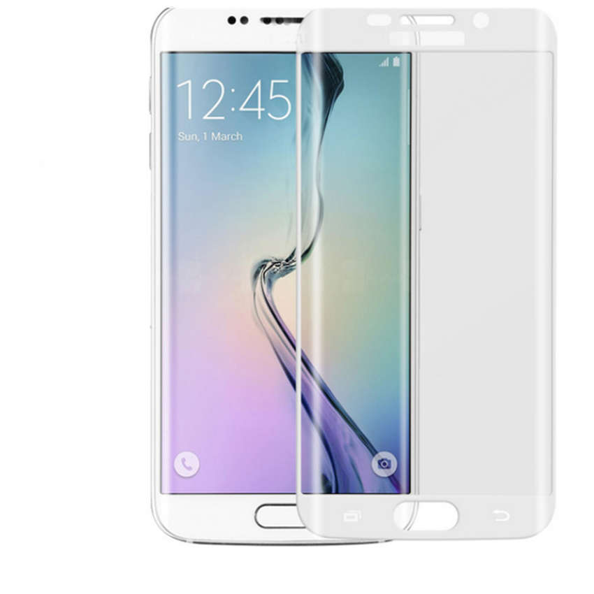 Colorful Tempered Glass Curve S6 Edge - Putih
