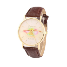Colorful Women's Fashion Lips Print Design Dial Leather Band Analog Quartz Wrist Watch (Brown)