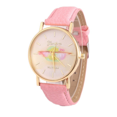 Colorful Women's Fashion Lips Print Design Dial Leather Band Analog Quartz Wrist Watch (Pink)