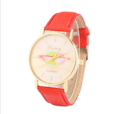 Colorful Women's Fashion Lips Print Design Dial Leather Band Analog Quartz Wrist Watch (Red)