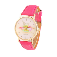 Colorful Women's Fashion Lips Print Design Dial Leather Band Analog Quartz Wrist Watch (Rose)