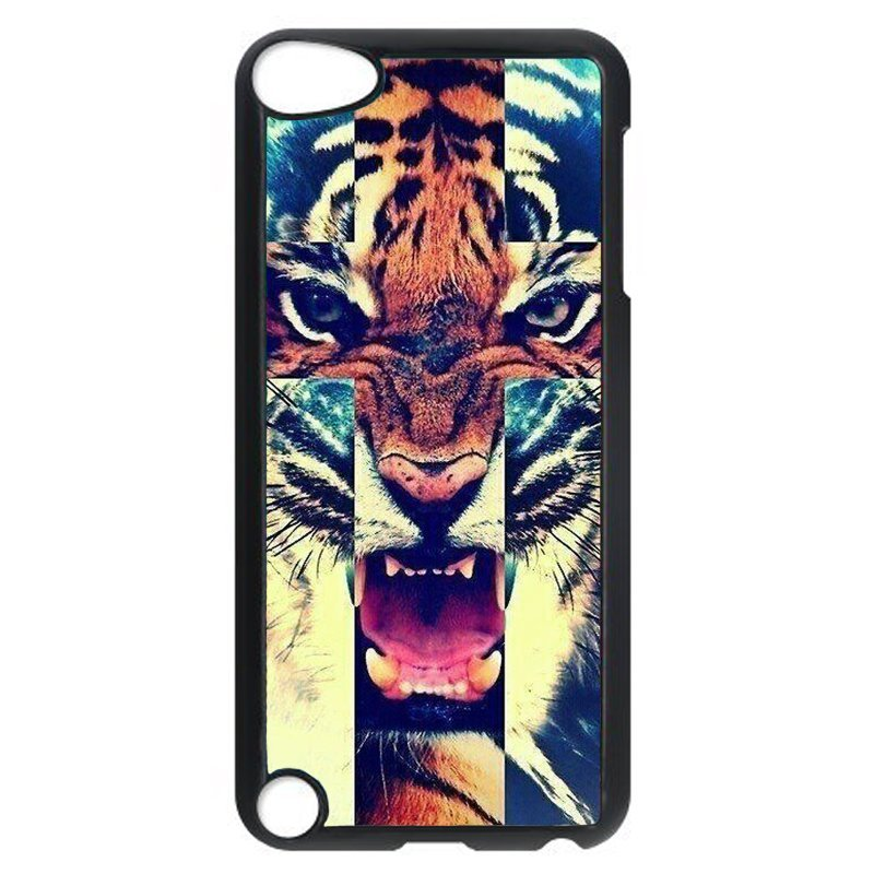 Cool Cross Tiger Phone Case for iPod Touch 4 (Black)