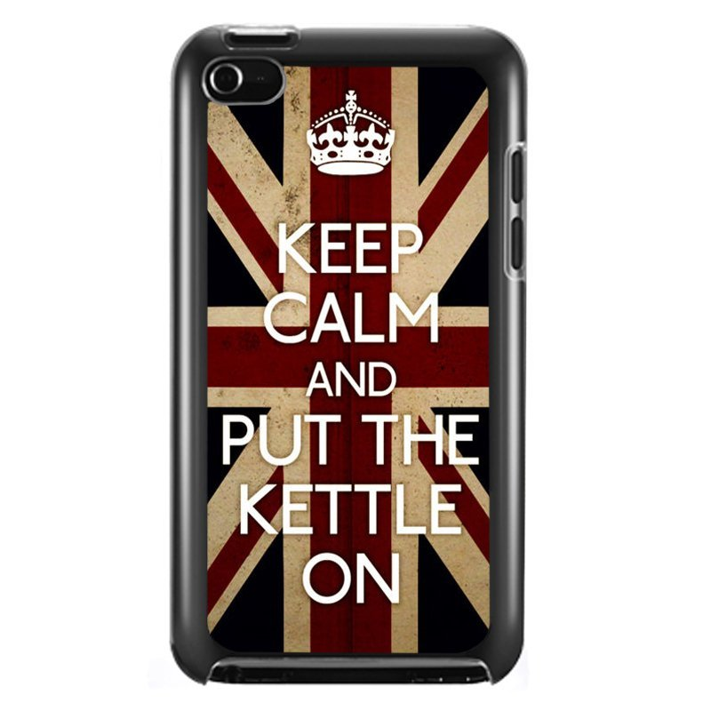 Cool Keep Calm and Put The Kettle On Phone Case for iPod Touch 4 (Black)