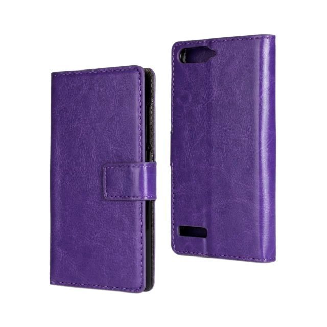 Crazy Horse Stripe Purse Holster Cover for Huawei Ascend G6 (Purple)