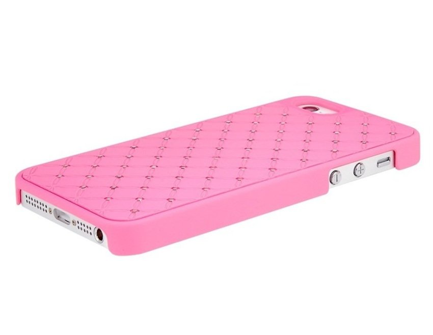 Crystal Deocrated PU Leather Layer Protective Case for iPhone 5 (Pink)