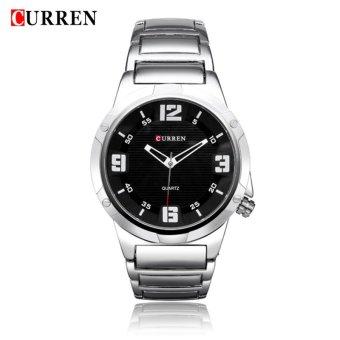 Curren 8111 Bold (Silver Black-Red) / Jam Tangan Kasual Pria Stainless Steel - Tahan Air 30Atm