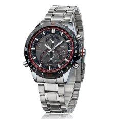 CURREN Men Business Stainless Steel Analog Quartz Watch 8149 Silver Red