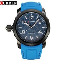 CURREN Men Sport WristWatches Casual Top Quality Quartz Silicone Watches Waterproof 8173 (Blue)