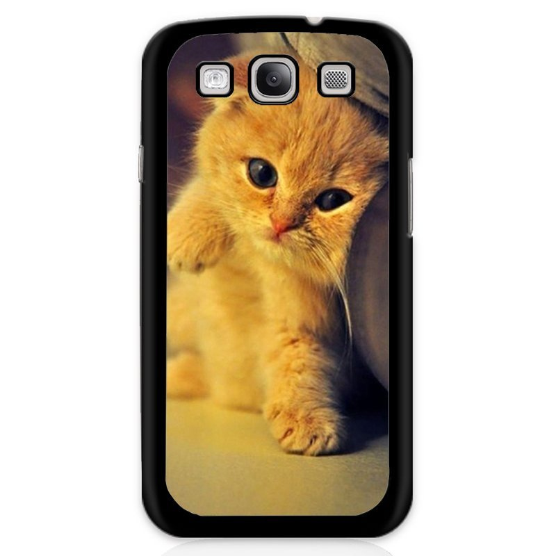 Cute Cat Kitten Printed Phone Case for Samsung Galaxy S3 (Black)