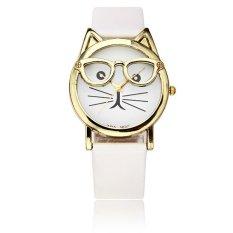 Cute Glasses Cat PU Leather Band Women Children Analog Quartz Watch (Intl)