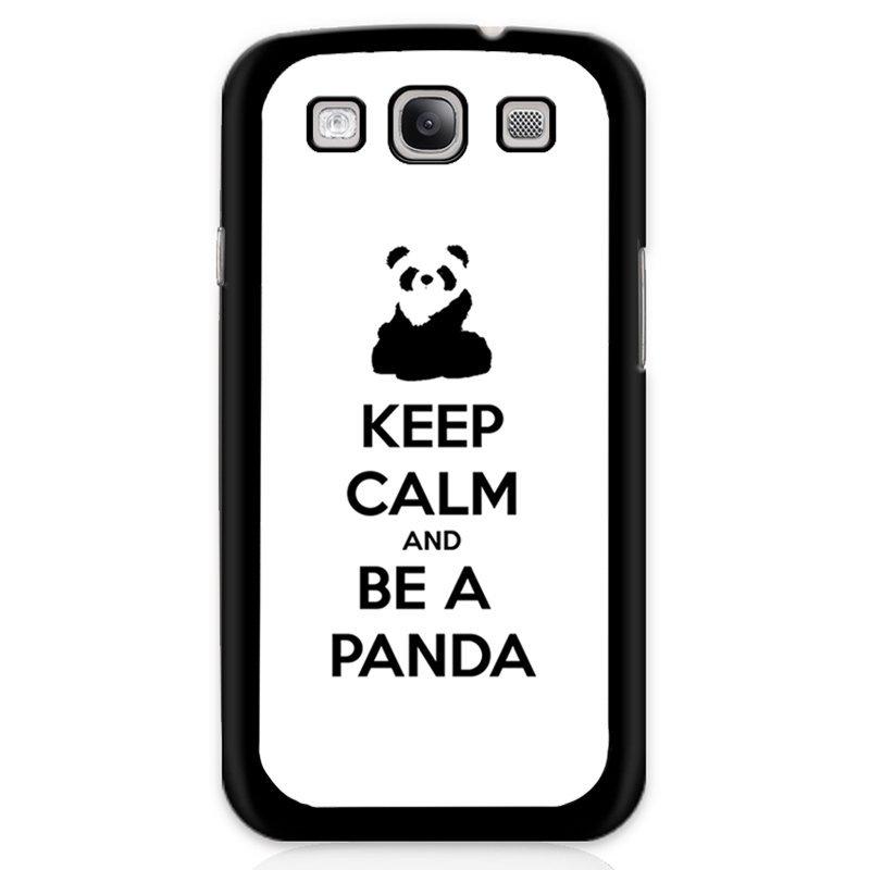 Cute Keep Calm And Be A Panda Phone Case for Samsung Galaxy S3 (Black)