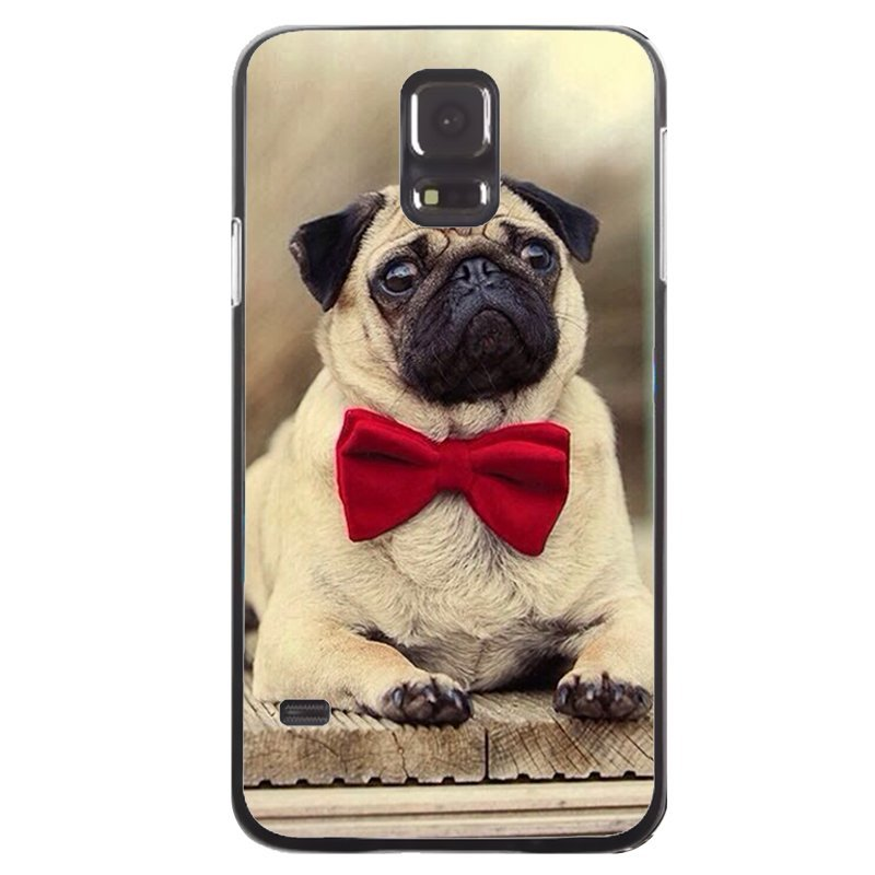 Cute Pug Puppy Painting Phone Case for Samsung Galaxy S5 (Black)