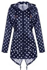 Cyber Meaneor Women Girls Dot Raincoat Fishtail Hooded Print Jacket Rain Coat (Navy Blue)