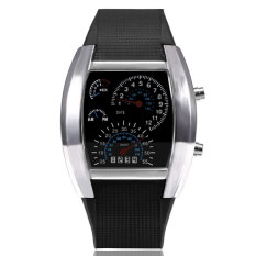 Cyber Men Sports LED Digital Watch Men's Race Speed Car Meter Dial Silicone Strap Male Military Wristwatch(Black)