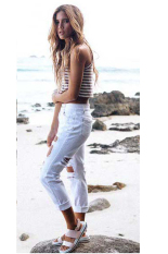 Cyber Women Pencil Pants Casual Sexy Hole Jeans Pant (White)