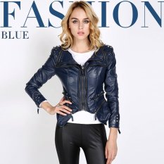 Cyber Women Sharp Studded Shoulder Notched Lapel Tuxedo Blazer Jacket Coat (Blue)