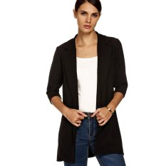 Cyber Zeagoo Women Fashion Lapel Casual Long Windbreaker Outwear Cardigan Coat (Black)
