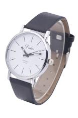 Dalas JD302 Fashion Vintage Women Simple Design Leather Strap Quartz Wristwatches (Black Strap White Surface)