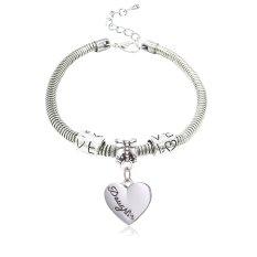 Daughter Gift Family Jewelry Silver Alloy Love Heart Shape Charm Pendant Bracelet For Girl Birthday Gift