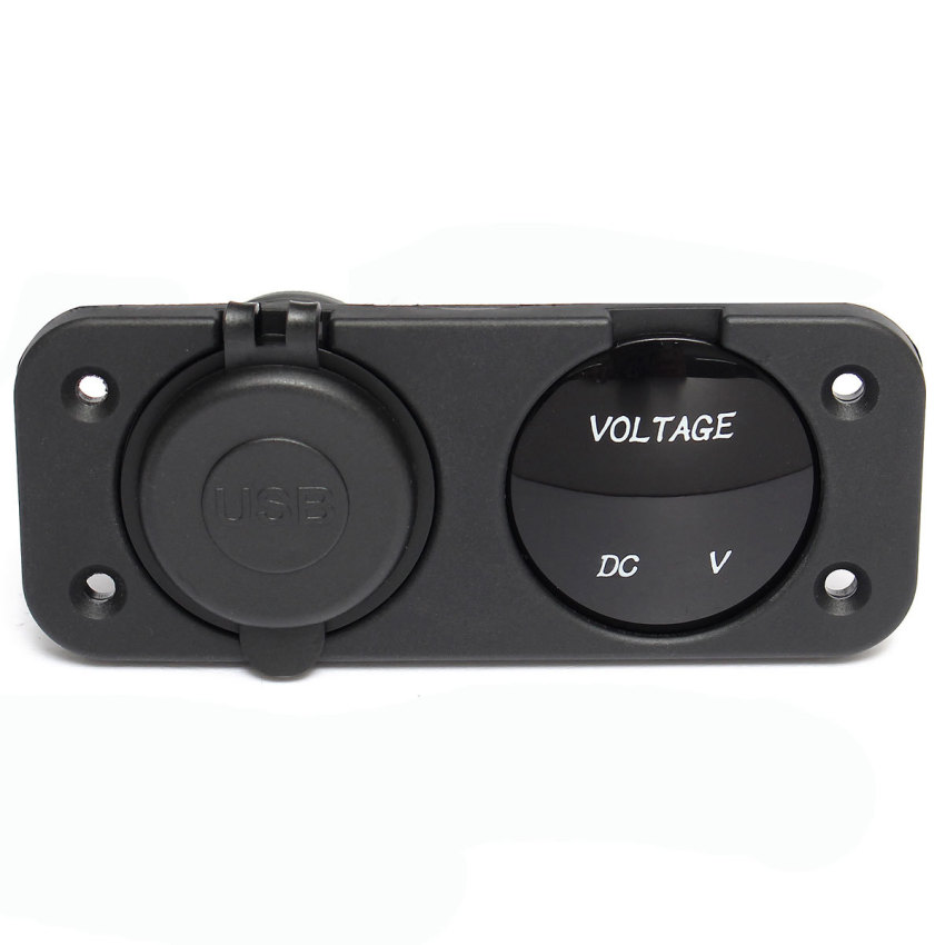 DC12-24V Auto Car LED Digital Voltmeter Adapter Dual USB Charger Waterproof (Intl)