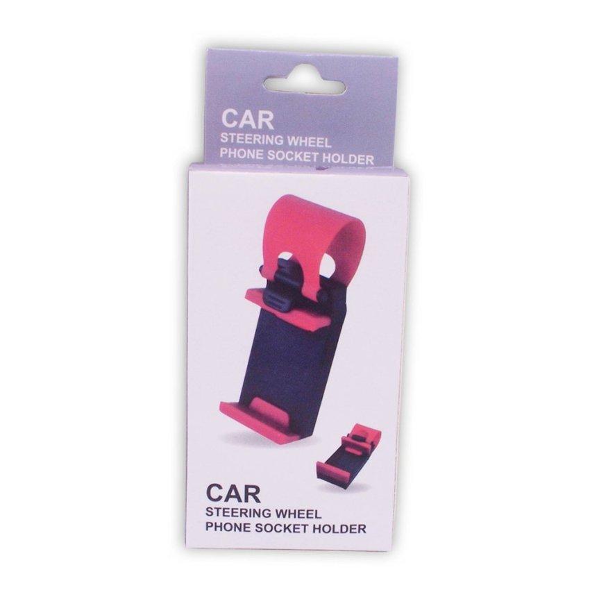 Delcell Universal Car Holder Penyangga Gadget Steering Wheel - Hitam