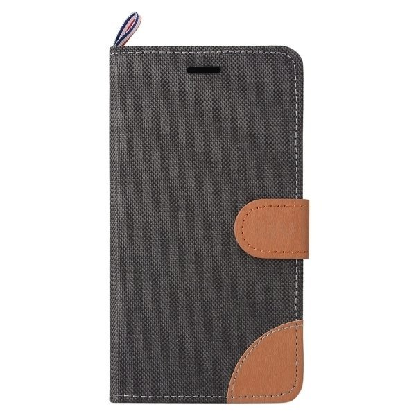 Denim Texture Leather Flip Cover for OnePlus One (Black) (Intl)