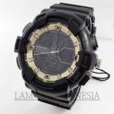 Digitec -DG2032BG- Jam Tangan Pria Olahraga - Dual Time - Water Resist -Black Gold
