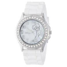 Disney Women's TK1062 Rhinestone Accent Tinkerbell White Rubber Strap Watch - Intl