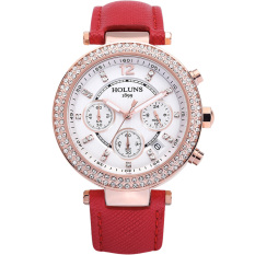 Dmscs HOLUNS Waterproof Watches Fashion Diamond Ladies Watch Ladies Fashion Casual Quartz Watches (Red)