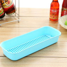 Drain Stylish Kitchen Countertop Storage Box Plastic Sink Finishing Frame Long Drain And Sponge Rack Blue - Intl