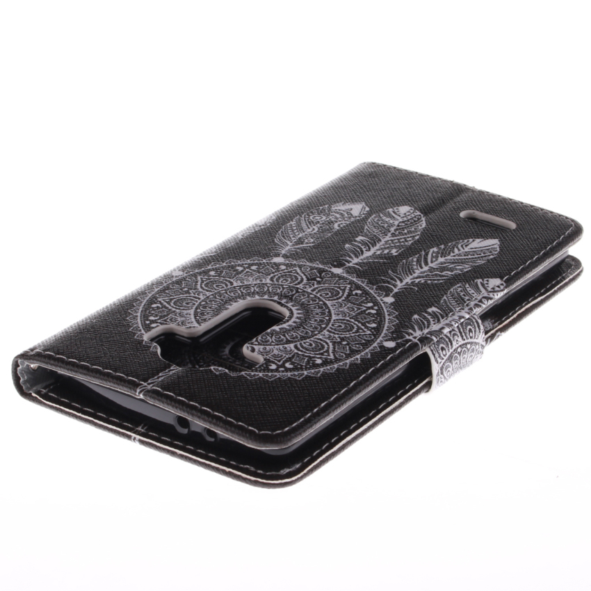 Dreamcatcher Double Painting Filp Leather Cover Built in Card Slot for LG G4 (Black) (Intl)