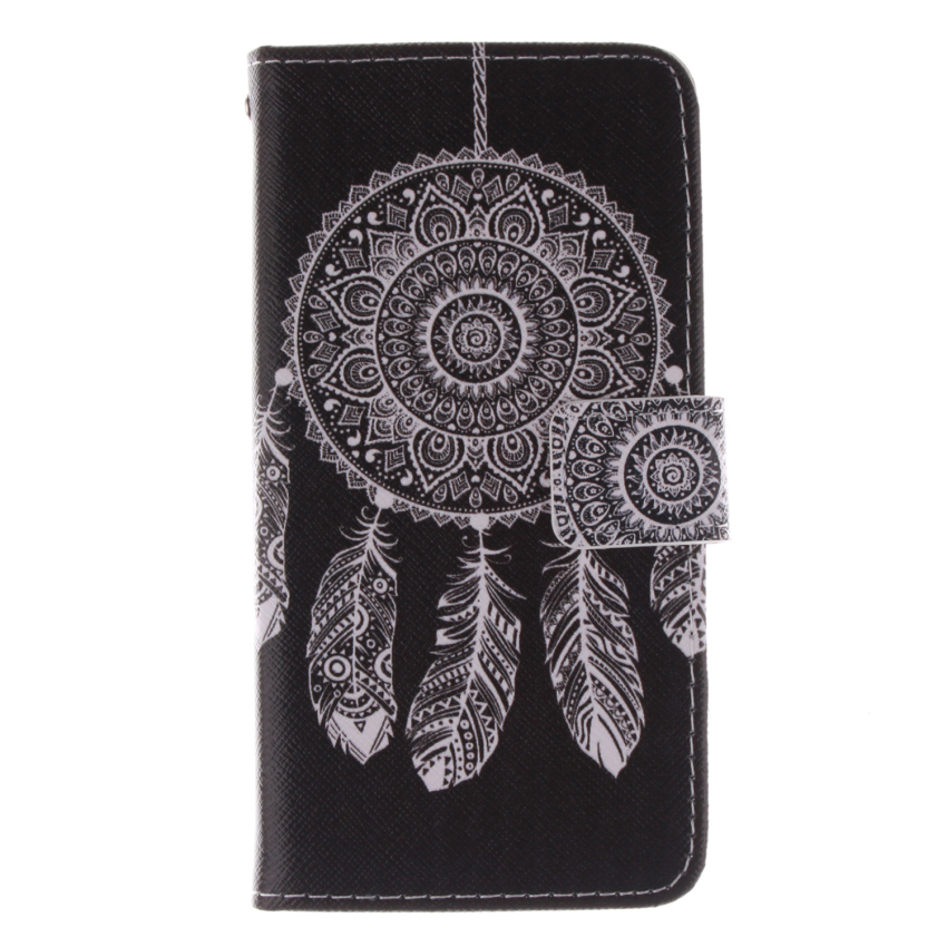 Dreamcatcher Double Painting Filp Leather Cover for Alcatel One Touch POP C7 (Black) (Intl)