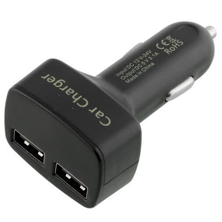 Dual USB Car Charger with LED Display - EC2 - Hitam
