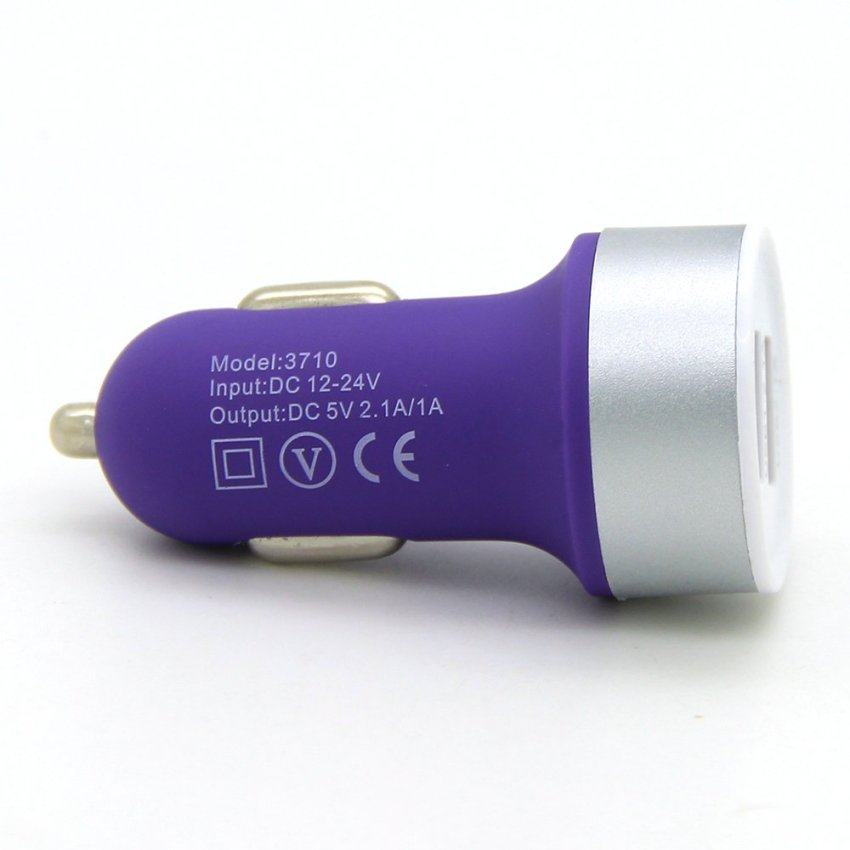 Dual USB Port Car Charger 5V 1A 2.1A Auto Power Adapter For iPhone 4 4s 5 5s 6 6Plus Samsung Galaxy S3 S4 HTC Huawei Sony Nokia Purple (Intl)