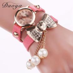 Duoya Femmes Mode Casual Bracelet En Cuir Montre-Bracelet Femmes Robe Pink Free Shipping