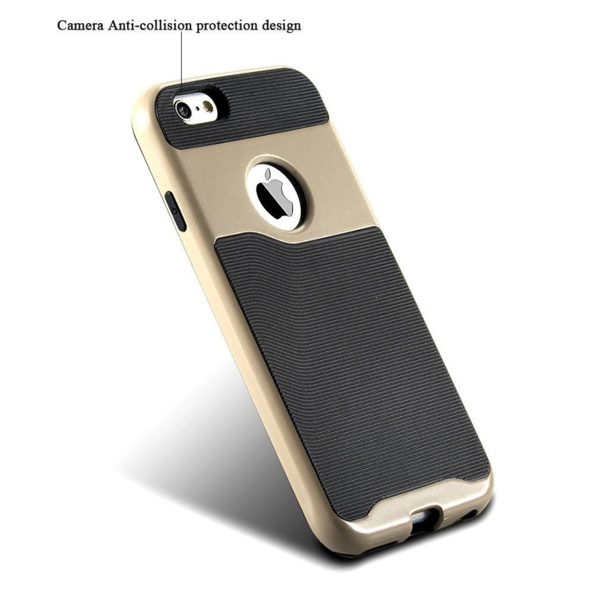 Durable Hybrid TPU+PC Case for Apple iPhone 6 6S Gold/Black (Intl)