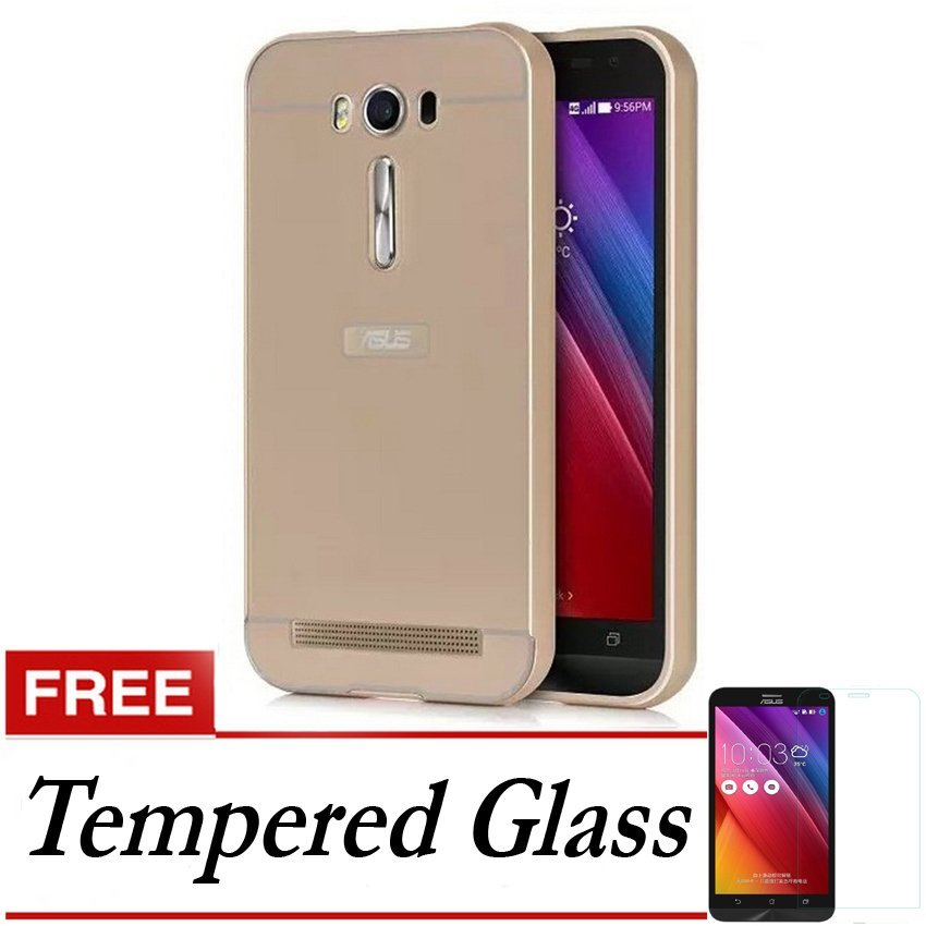 Elegant Case Metal Bumper Slide For Asus Zenfone Selfie (ZD551KL) - Emas + Gratis Tempered Glass